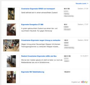 Screenshot der gebrauchten Ergometer bei Ebay
